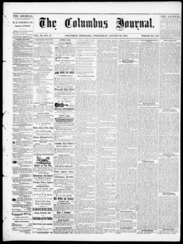 First page of first issue of The Columbus journal.