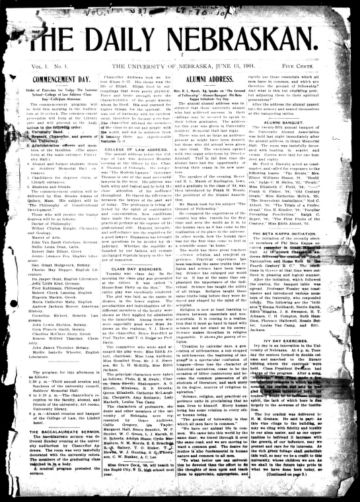 First page of first issue of The daily Nebraskan.