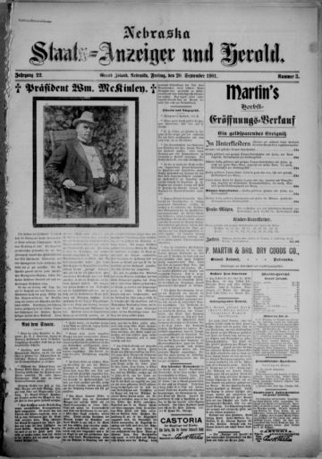 First page of first issue of Nebraska Staats-Anzeiger und Herold.