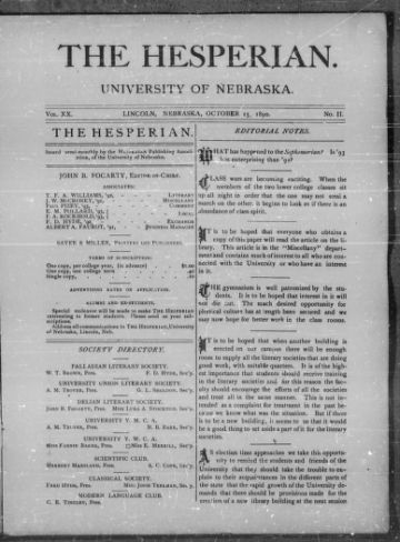 First page of first issue of The Hesperian /