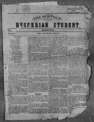 First page of first issue of Hesperian student /