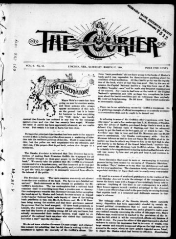 First page of first issue of The courier.
