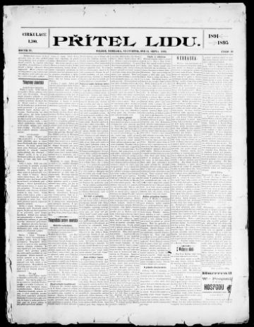 First page of first issue of Přítel lidu.