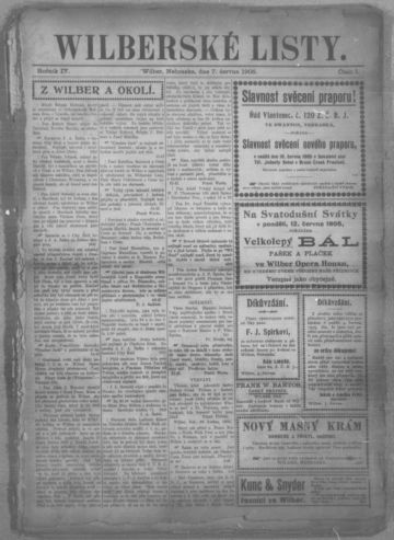 First page of first issue of Wilberské listy.