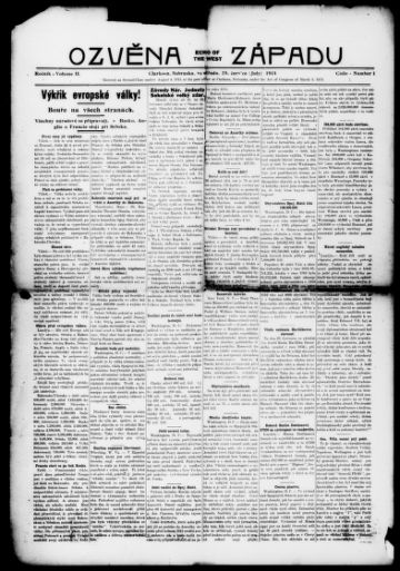 First page of first issue of Ozvéna západu.