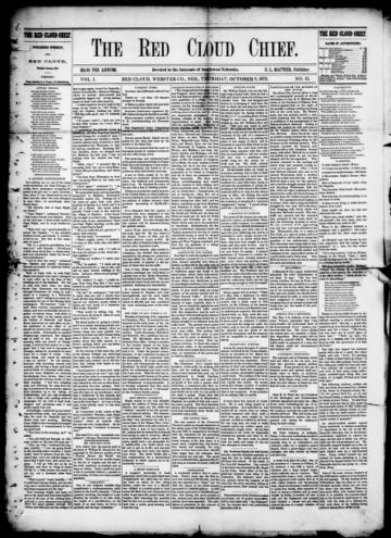 First page of first issue of The Red Cloud chief.