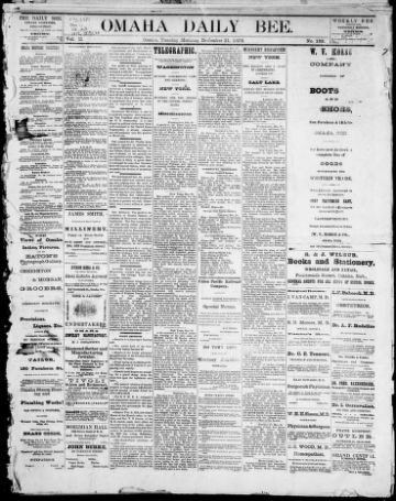 First page of first issue of Omaha daily bee.