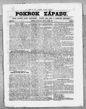 First page of first issue of Pokrok západu.