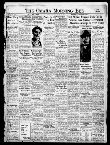 First page of first issue of The Omaha morning bee.