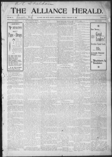 First page of first issue of The Alliance herald.