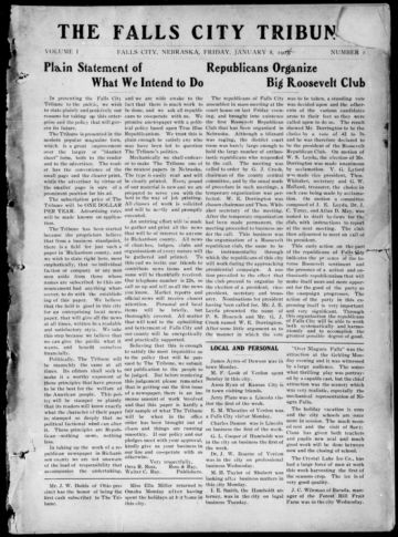 First page of first issue of The Falls City tribune.