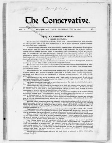 First page of first issue of The Conservative
