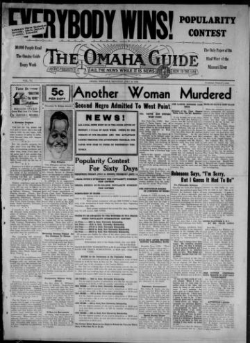 First page of first issue of The Omaha guide.