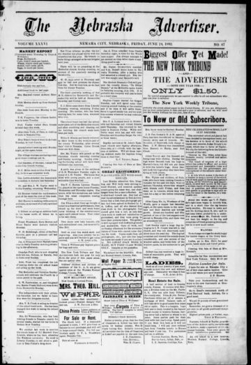 First page of first issue of The Nebraska advertiser.