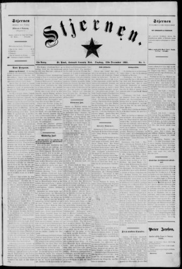 First page of first issue of Stjernen.