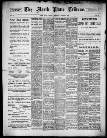 First page of first issue of The North Platte tribune.