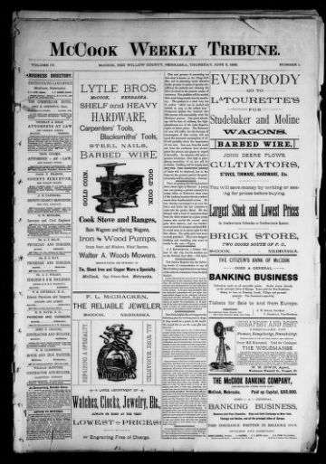 First page of first issue of The McCook tribune.