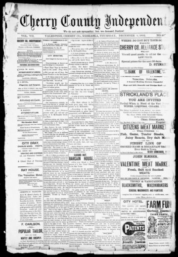 First page of first issue of Cherry County independent.