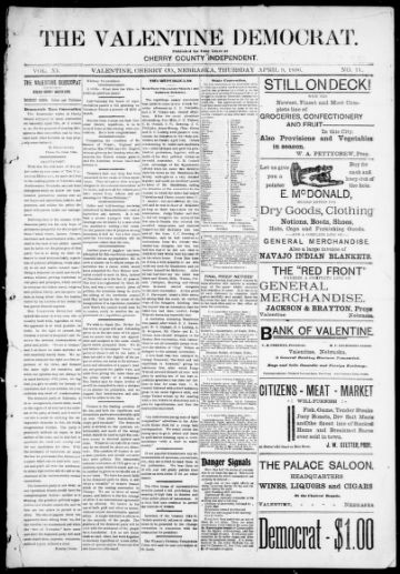 First page of first issue of The Valentine Democrat.