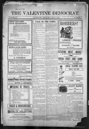 First page of first issue of Valentine Democrat.