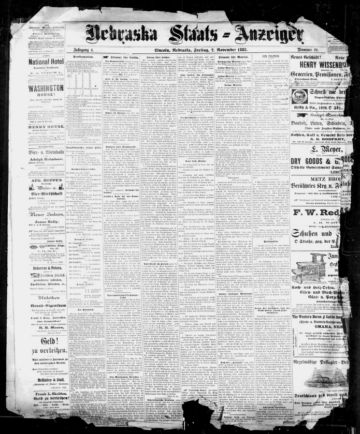 First page of first issue of Nebraska Staats-Anzeiger.