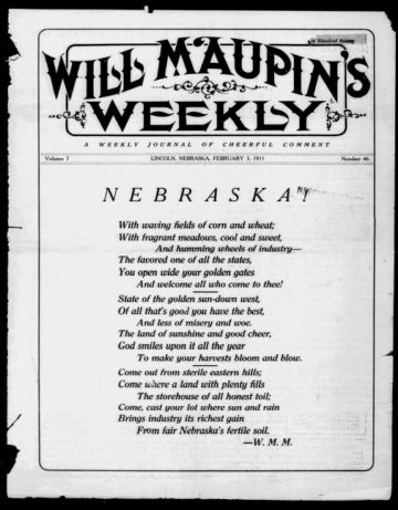 First page of first issue of Will Maupin's weekly.