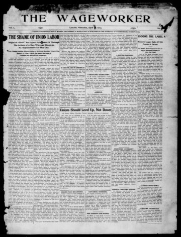 First page of first issue of The Wageworker.