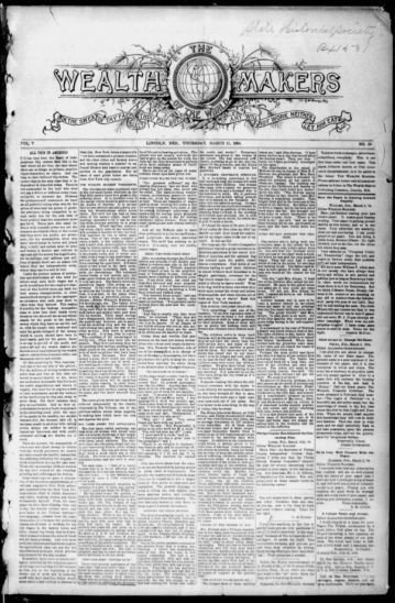 First page of first issue of The Wealth makers of the world.