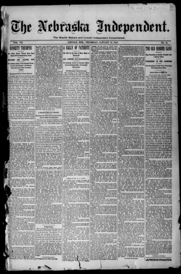 First page of first issue of The Nebraska independent.