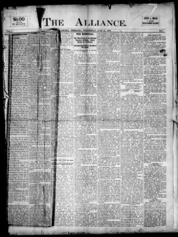 First page of first issue of The alliance.