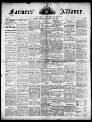 First page of first issue of The farmers' alliance.
