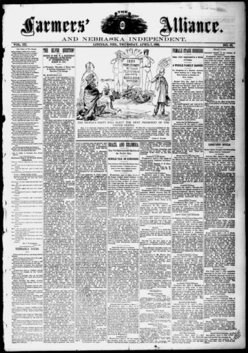 First page of first issue of The farmers' alliance and Nebraska independent.