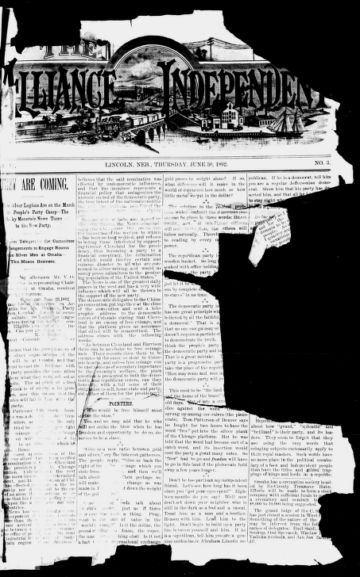 First page of first issue of The Alliance-independent.