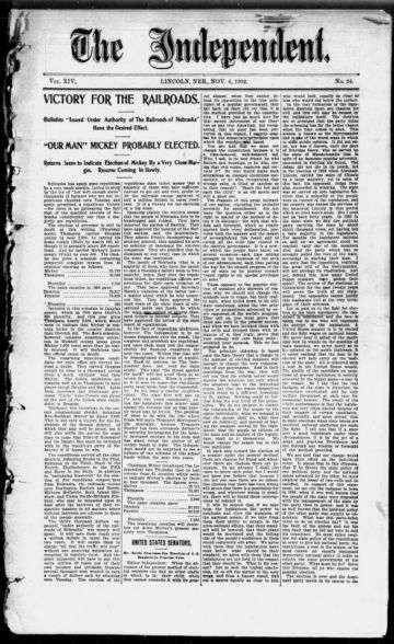 First page of first issue of The independent.