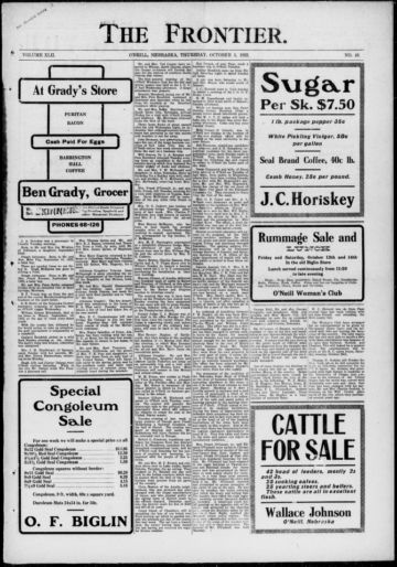 First page of first issue of The frontier.