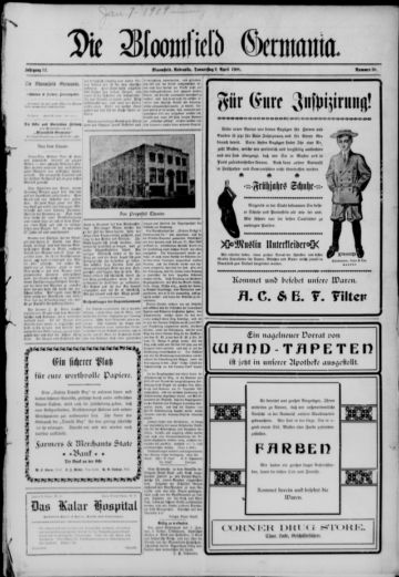 First page of first issue of Die Bloomfield Germania.