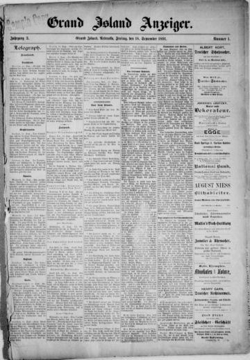 First page of first issue of Grand Island Anzeiger.