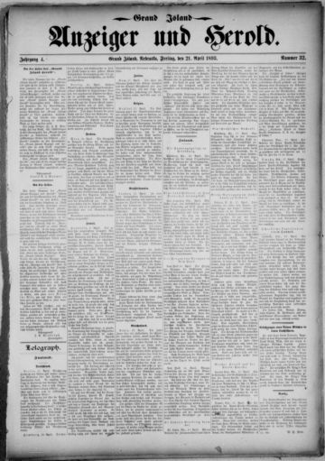 First page of first issue of Grand Island Anzeiger und Herold.