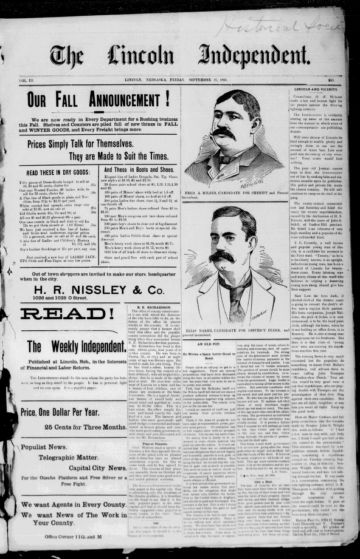 First page of first issue of The Lincoln independent.