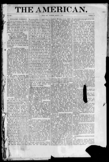 First page of first issue of The American.