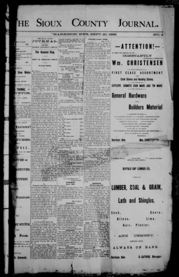 First page of first issue of The Sioux County journal.
