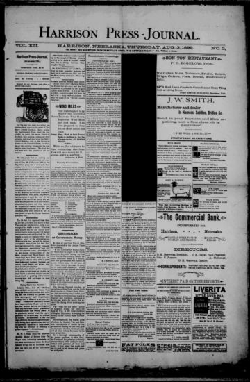 First page of first issue of Harrison press-journal.