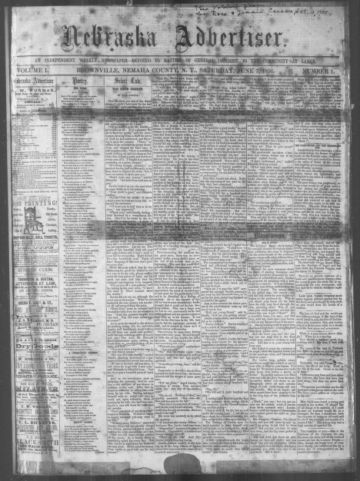 First page of first issue of Nebraska advertiser.