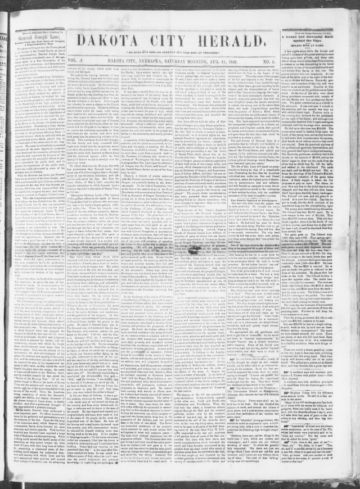 First page of first issue of Dakota City herald.