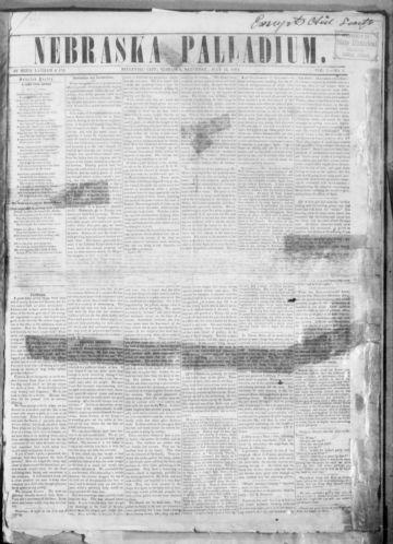 First page of first issue of Nebraska palladium.