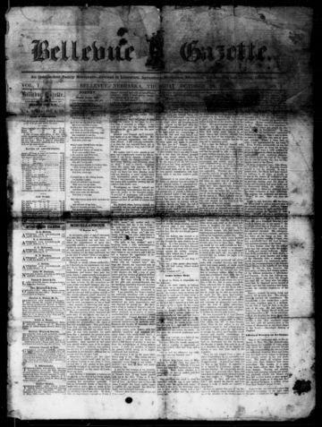 First page of first issue of Bellevue gazette.