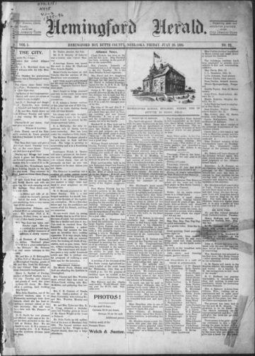 First page of first issue of Hemingford herald.