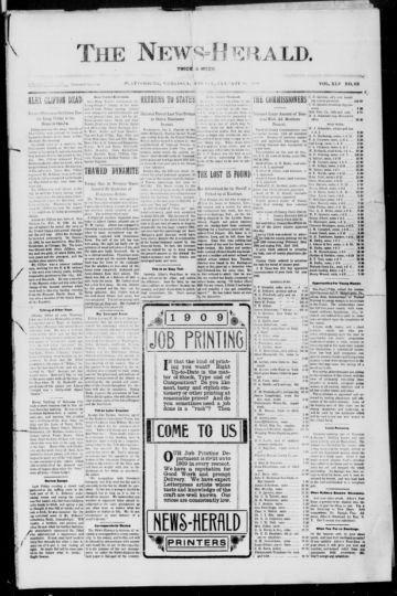 First page of first issue of The news-herald.