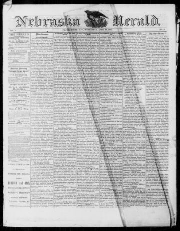 First page of first issue of Nebraska herald.